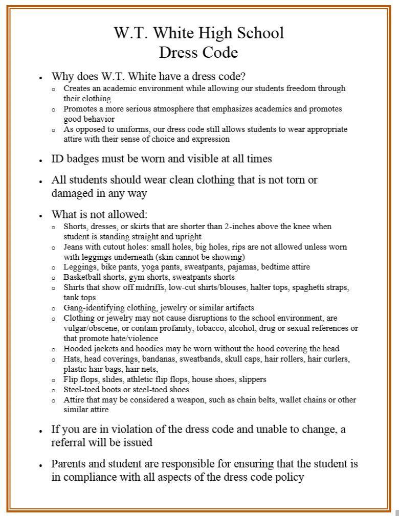 Wt white high school wt white high school dress code malvernweather Choice Image