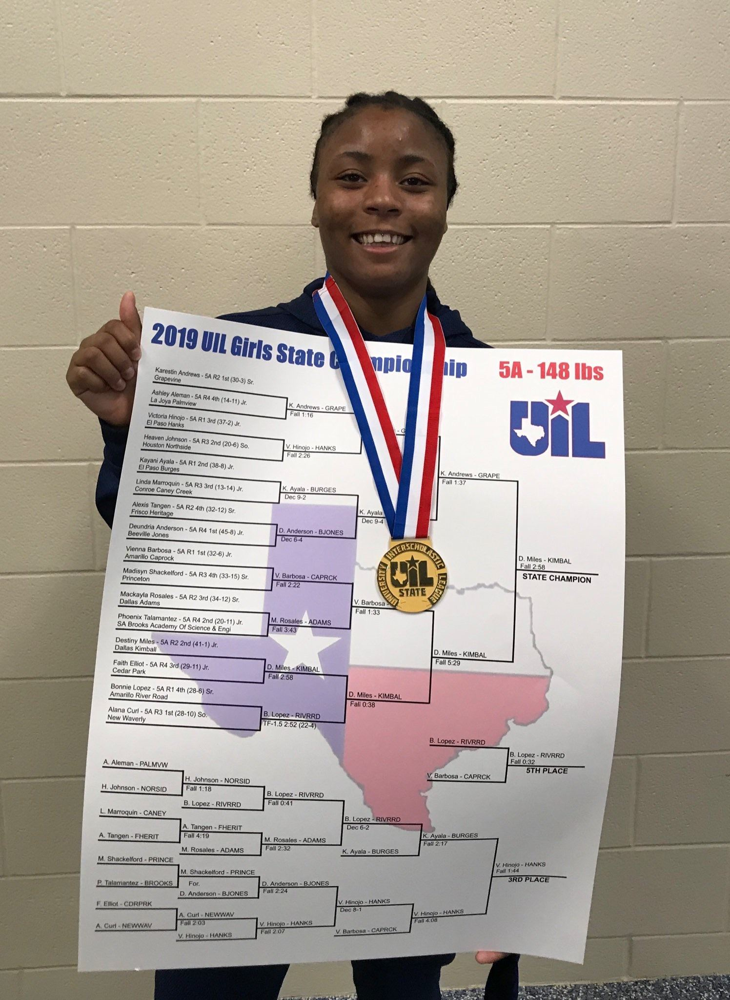 Destiny Miles, Kimball Wins 5A-148 Girls State Wrestling Championship