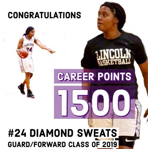 Diamond Sweats, Lincoln HS, scores her 1500 career point.