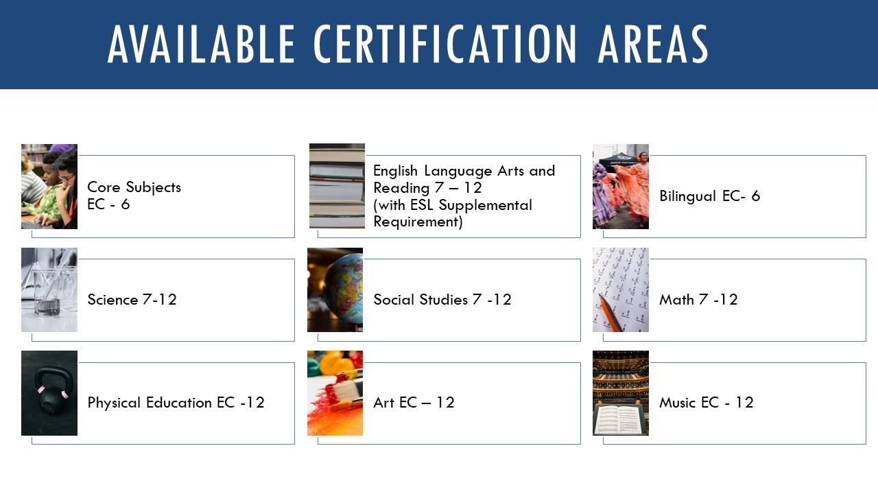 Available Certification Areas
