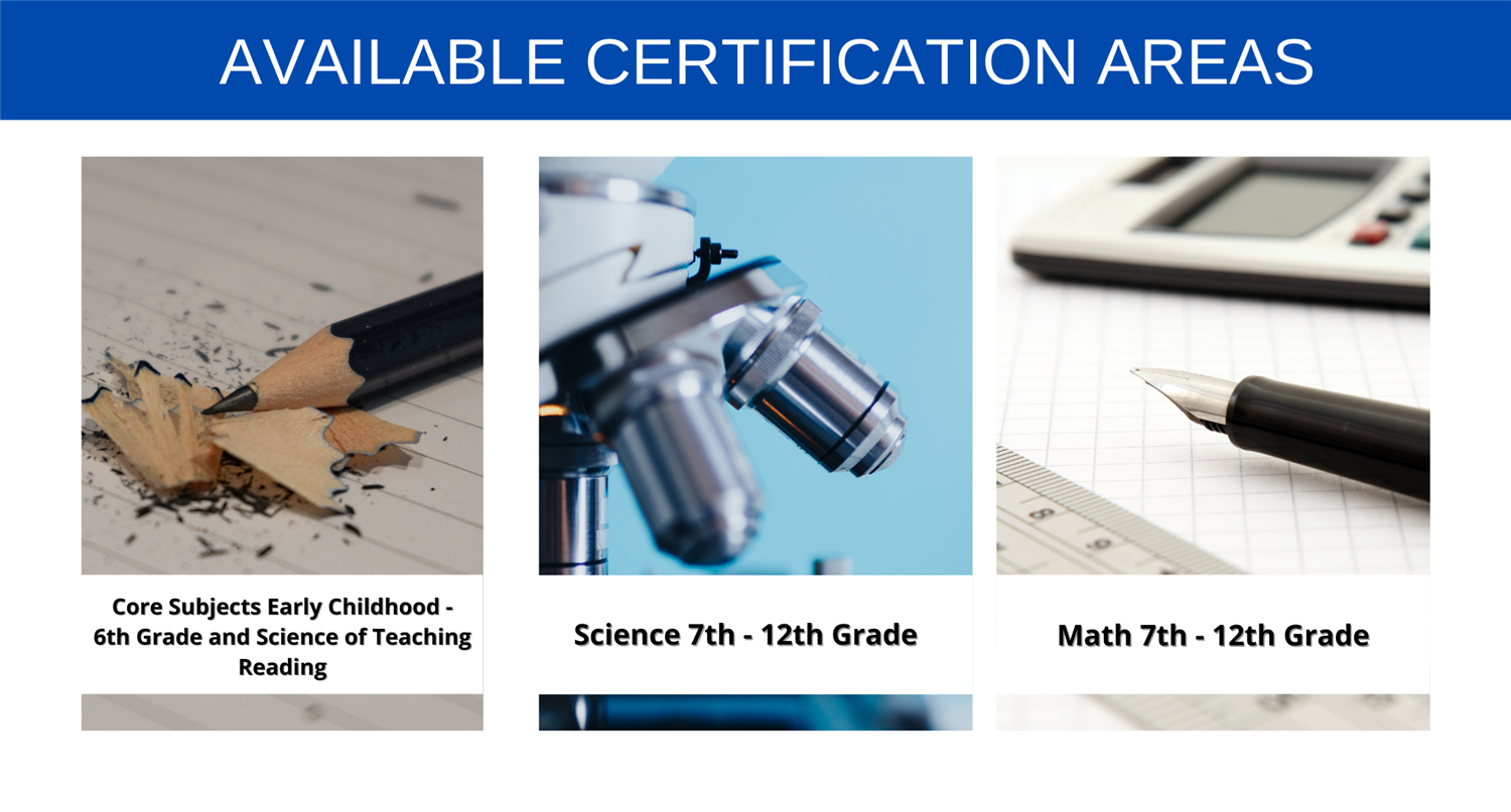 core subjects- science- math certification areas