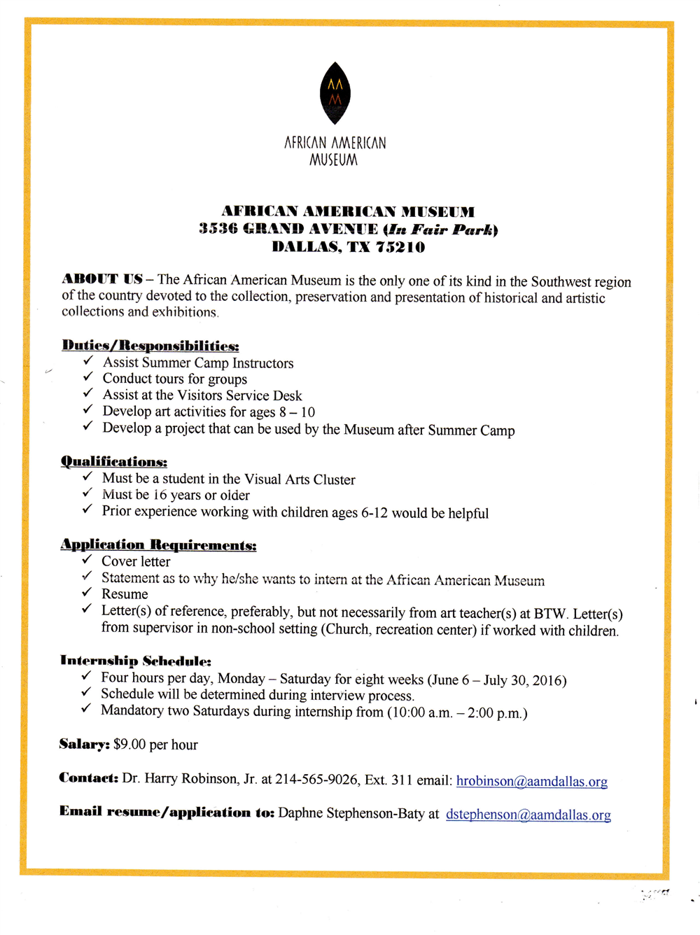 Summer Internships / African-American Museum