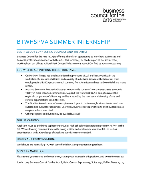 Summer Internships Business Council For The Arts