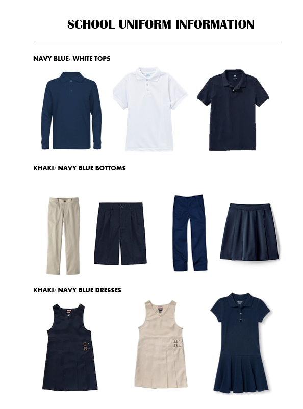Image result for school uniforms navy khaki white