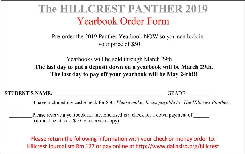 2019 Yearbook order form