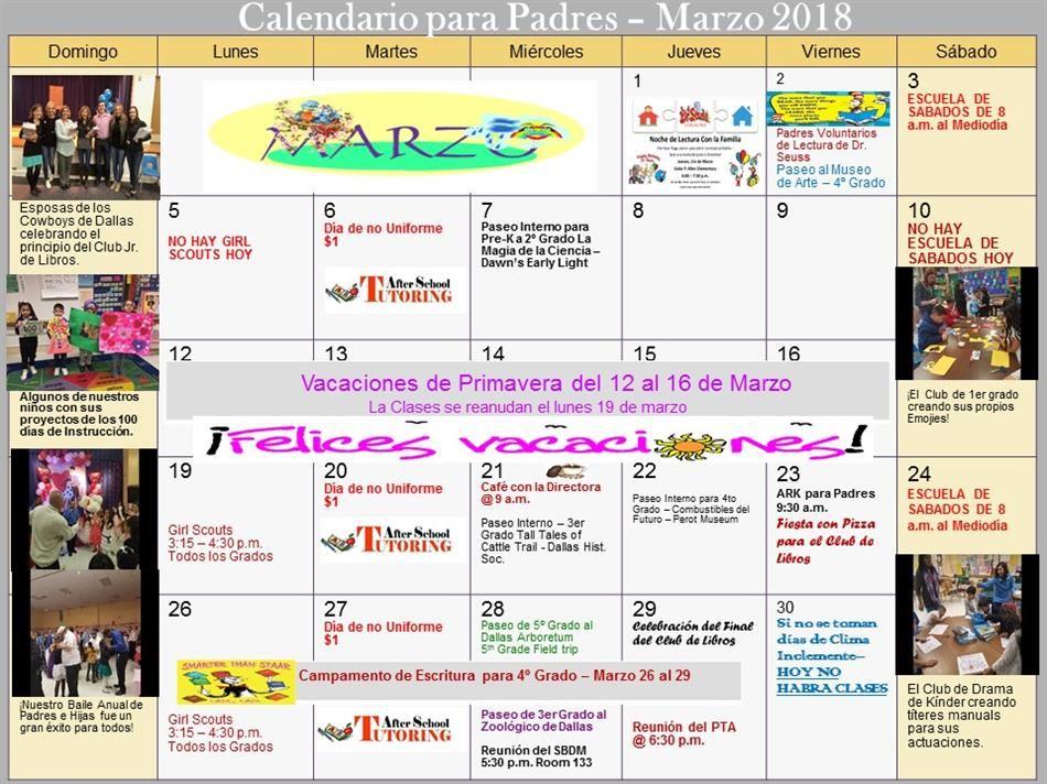 Calendar of Events / School Monthly Calendars