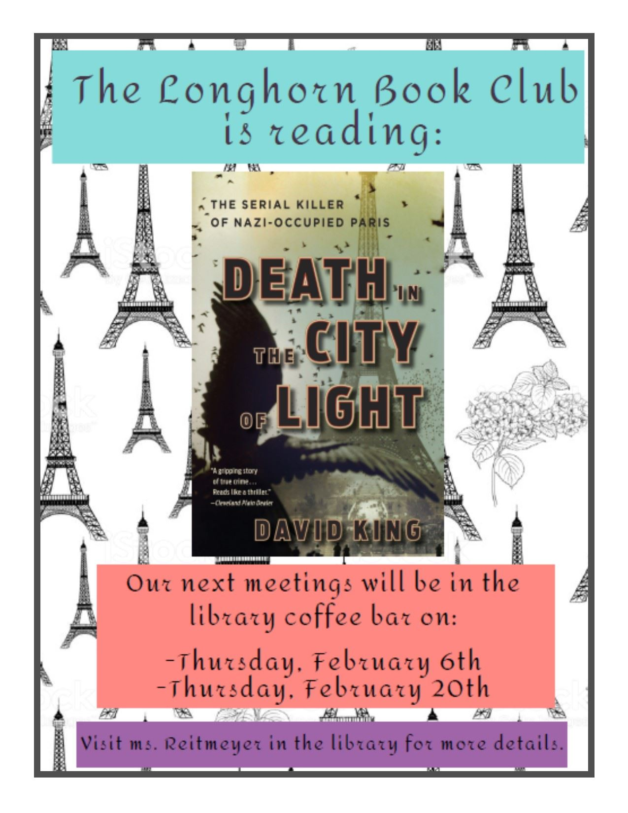 We are currently reading Death in the City of Light.