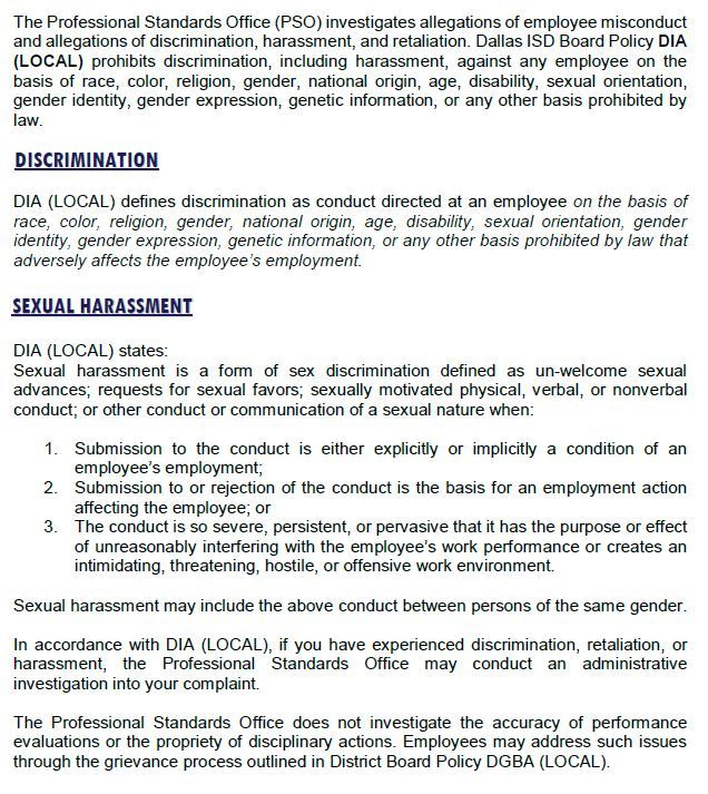 Professional Standards Office DISCRIMINATION HARASSMENT COMPLAINTS