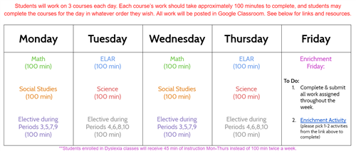 Schedule/Agenda for Students