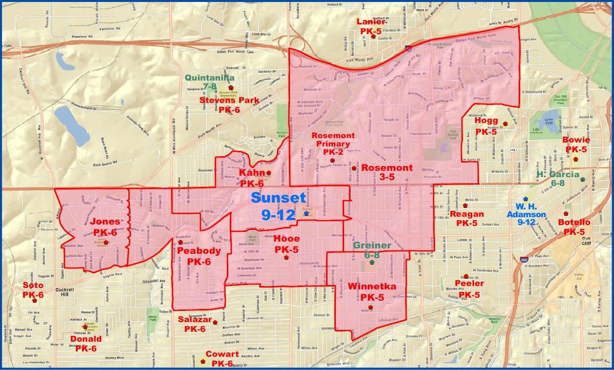 Sunset High School Attendance Zone Map