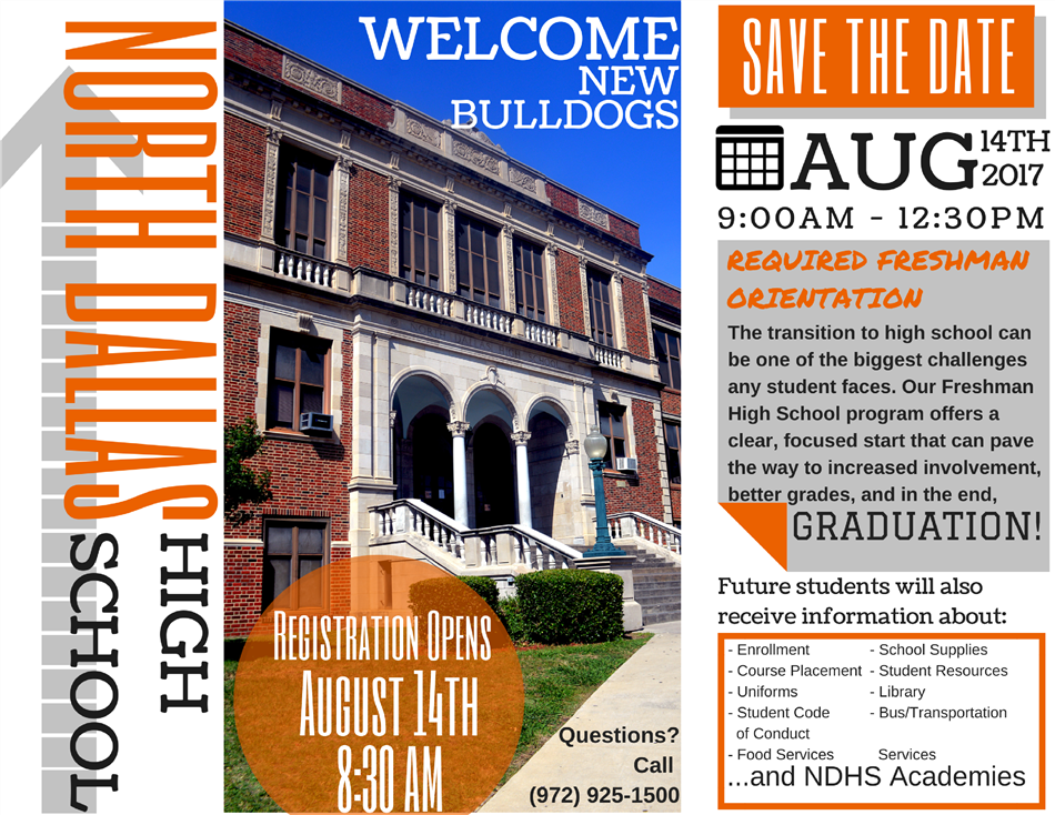 Orientation for Incoming Freshmen on 8/14