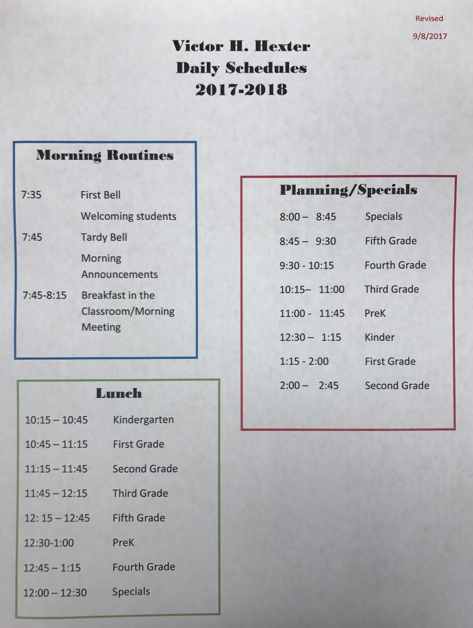 Daily Schedule 2