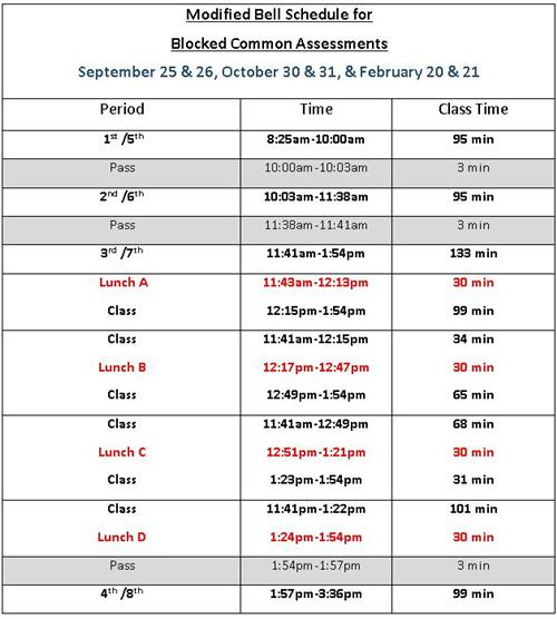 Common Assessment Modified Schedule