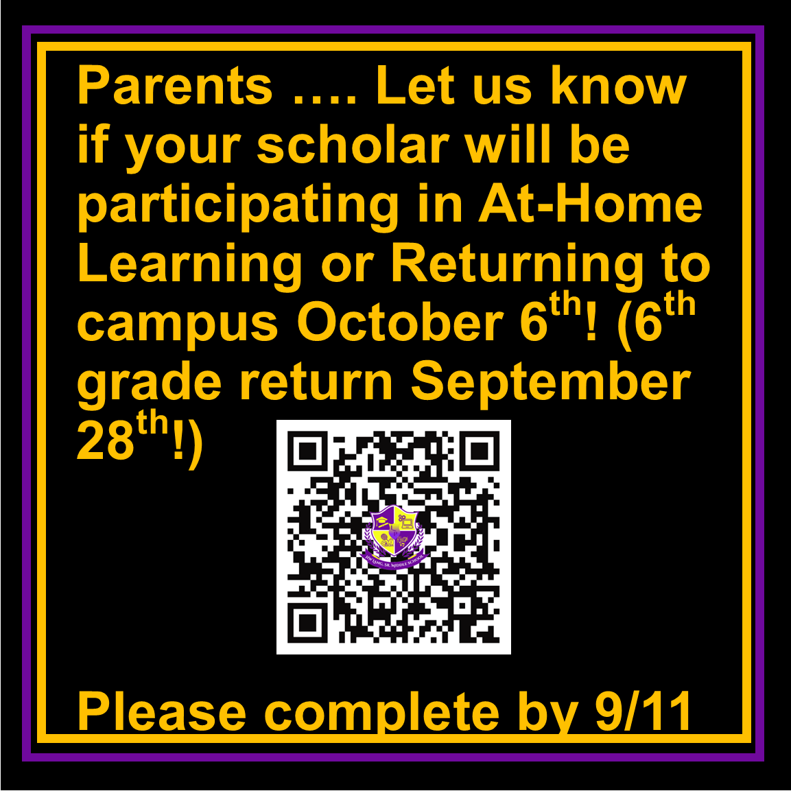At Home Learning or Return To Campus Survey