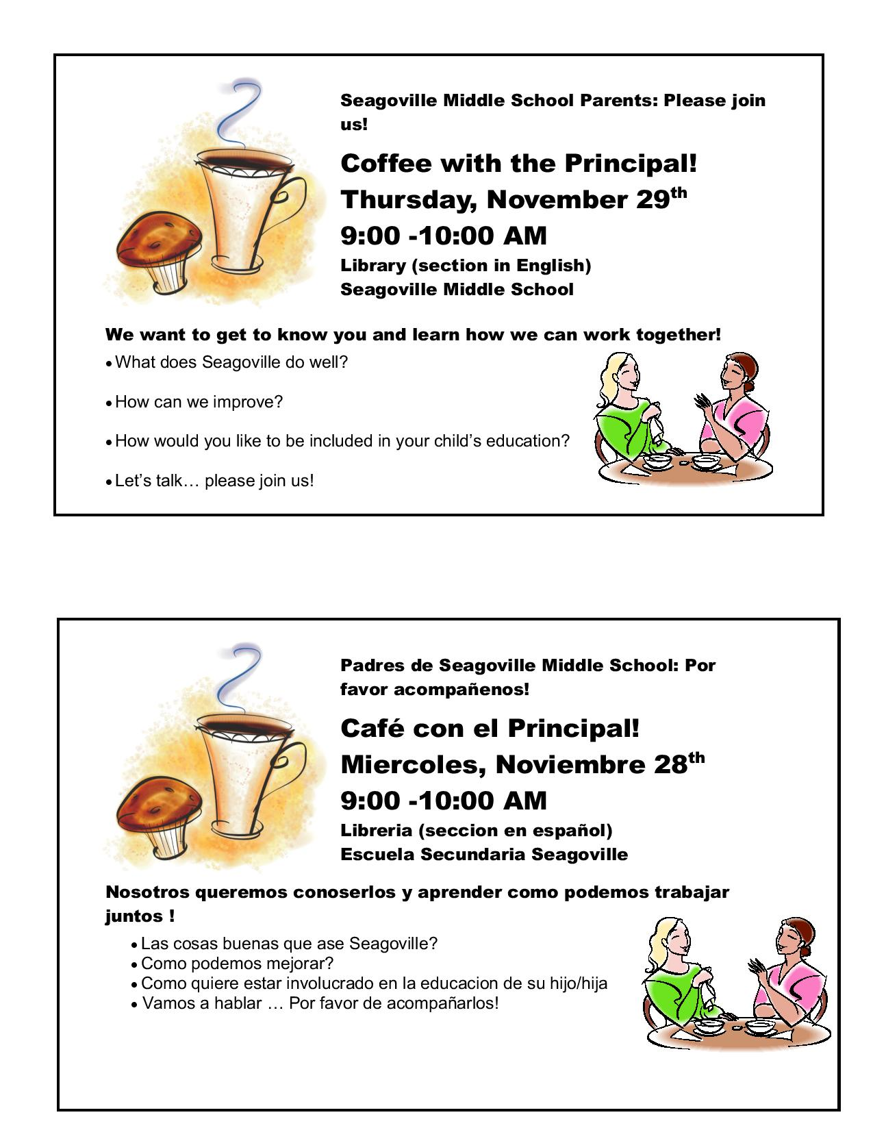 Coffee with the Principal (Click Here)