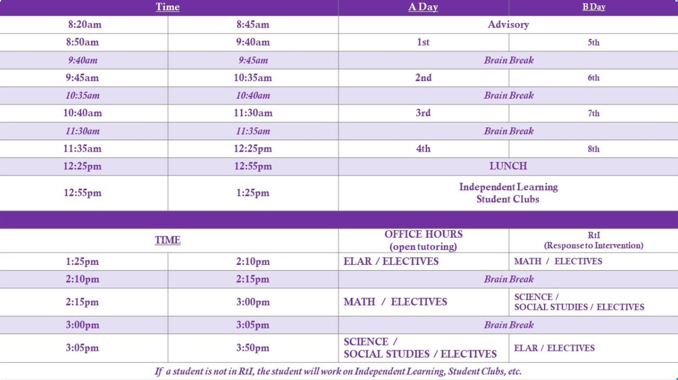 hillcrest high school bell schedule