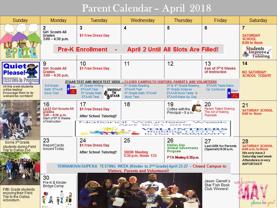 April Calendar 2018 (English)