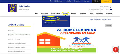 at home learning web