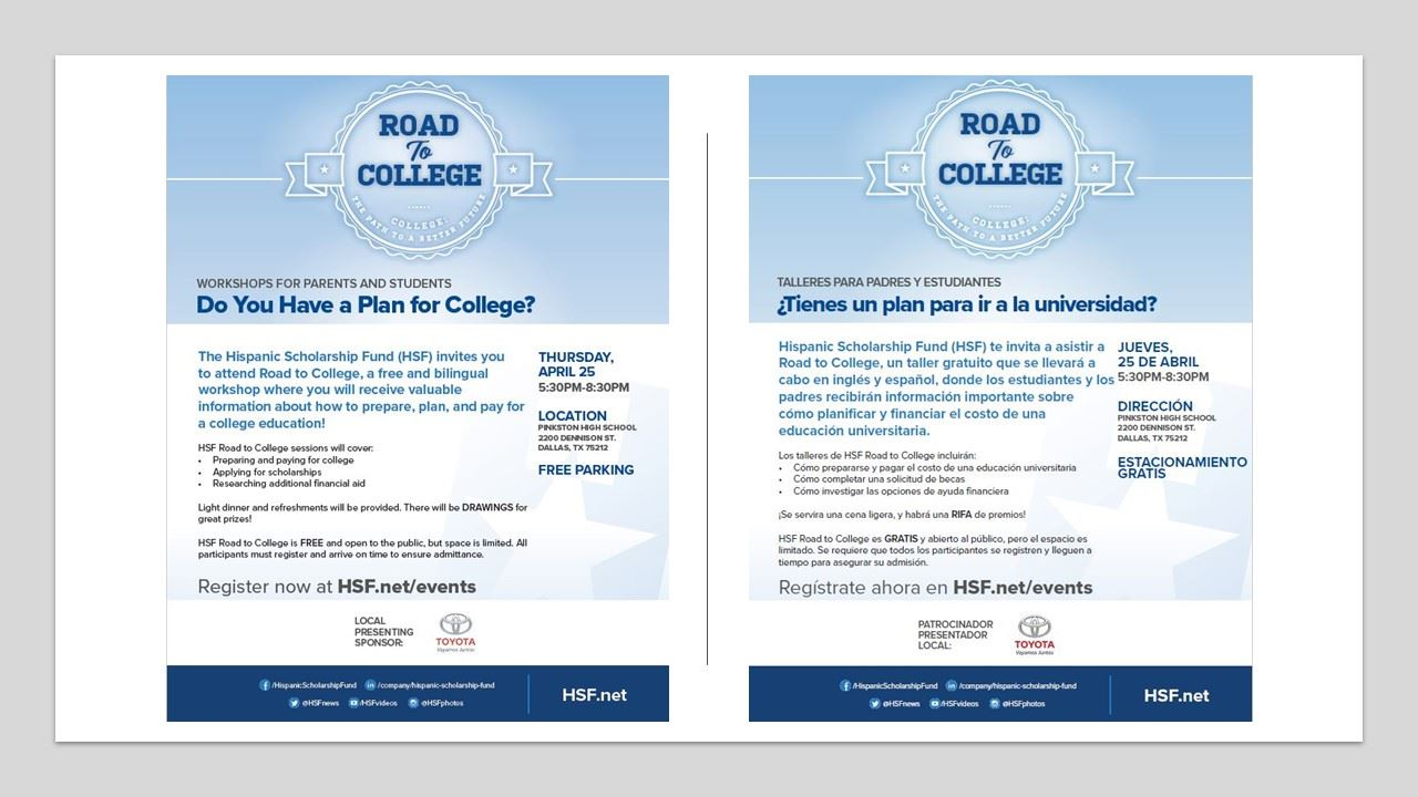 Hispanic Scholarship Fund Road to College