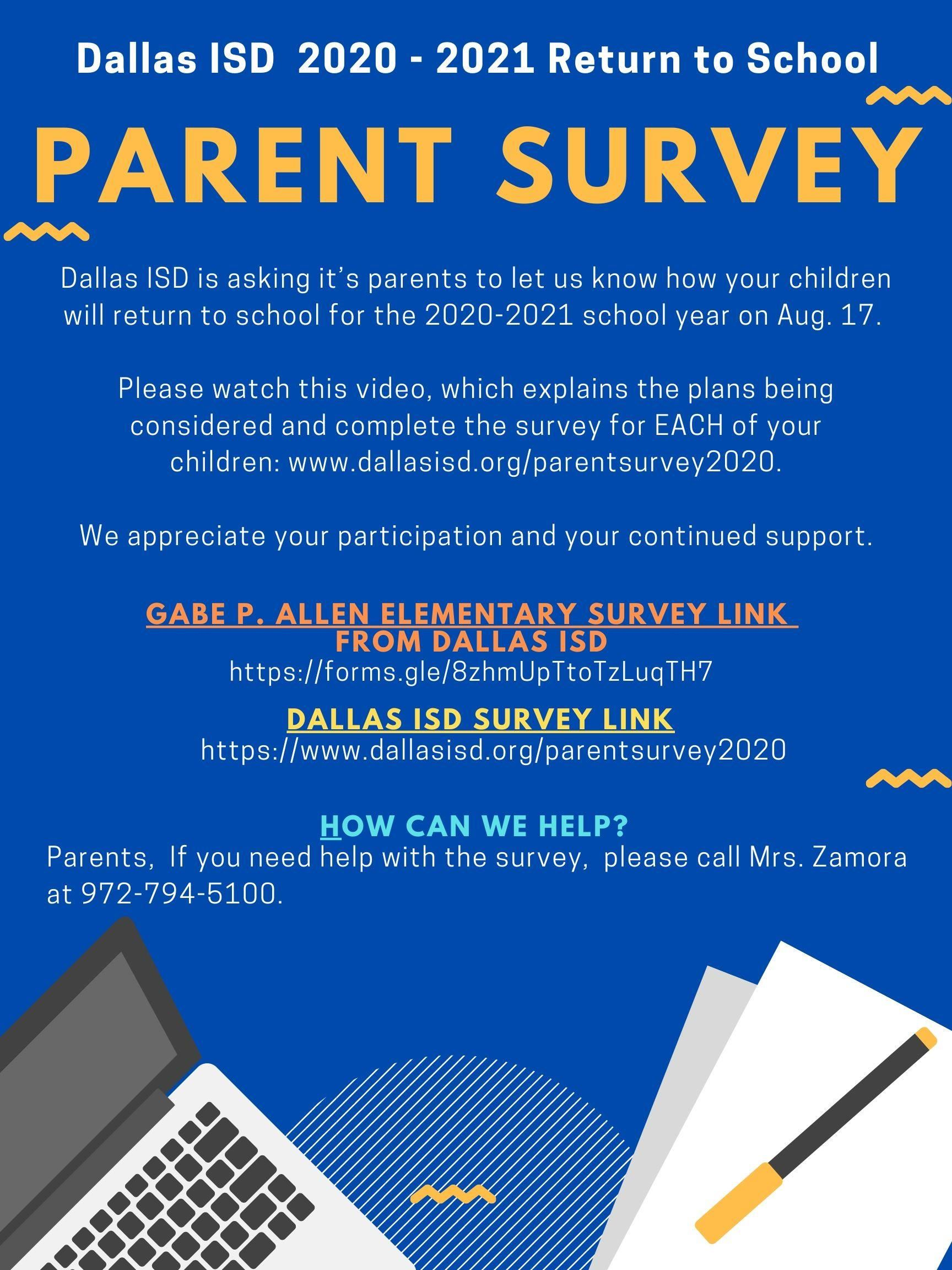 Parent Return to School Survey