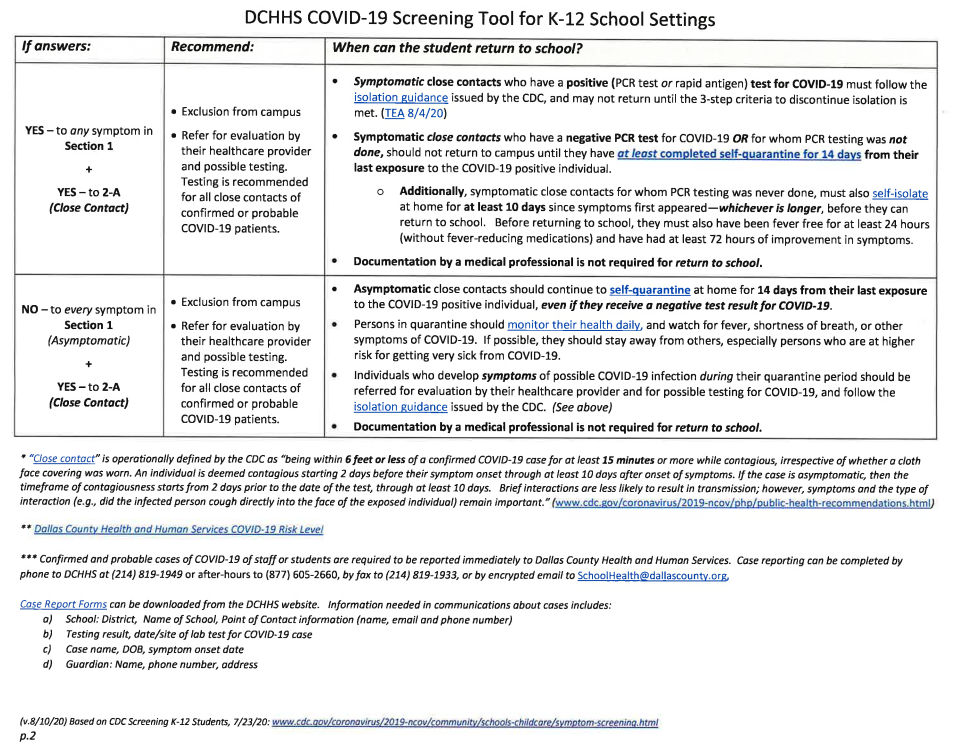 DCHHS COVID-19 Screening Tool for K-12 School Settings