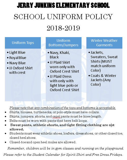 Uniform Policy 2019-2020