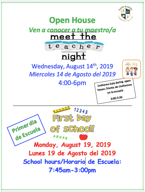 Meet the teacher Night 2019 / Noche de Conocer a los Maestros 2019