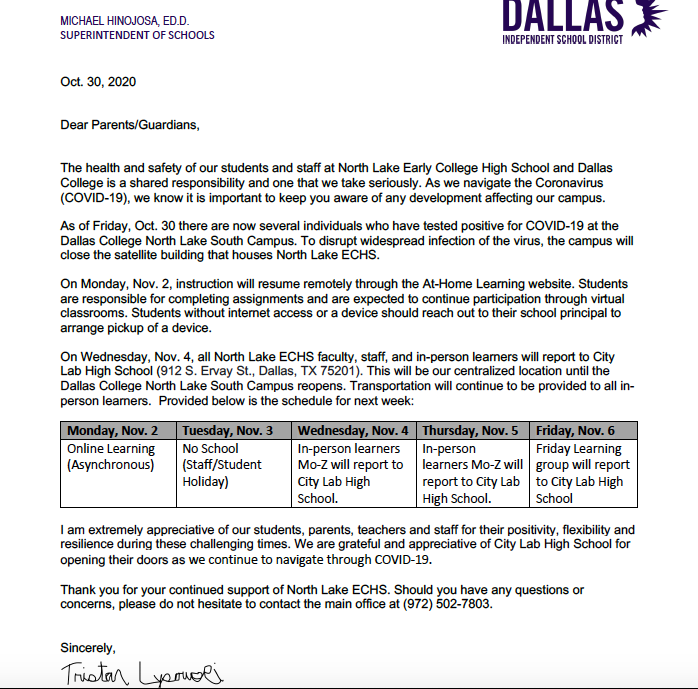 North Lake South Campus Closure Parent Letter (English)