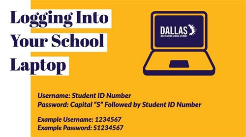 Username: Student ID number              Password: Capital S followed by student ID number