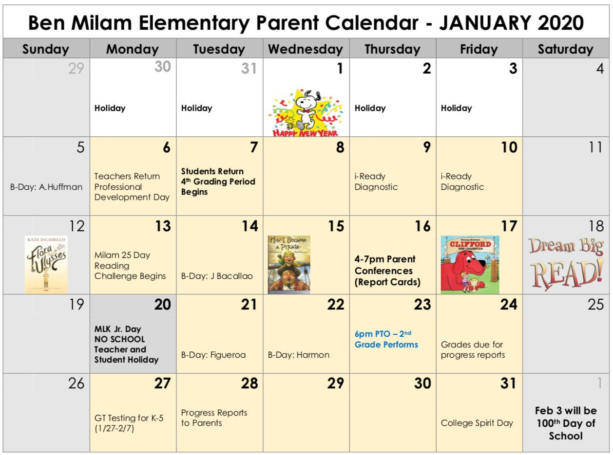 Milam Parent Calendar January 2020