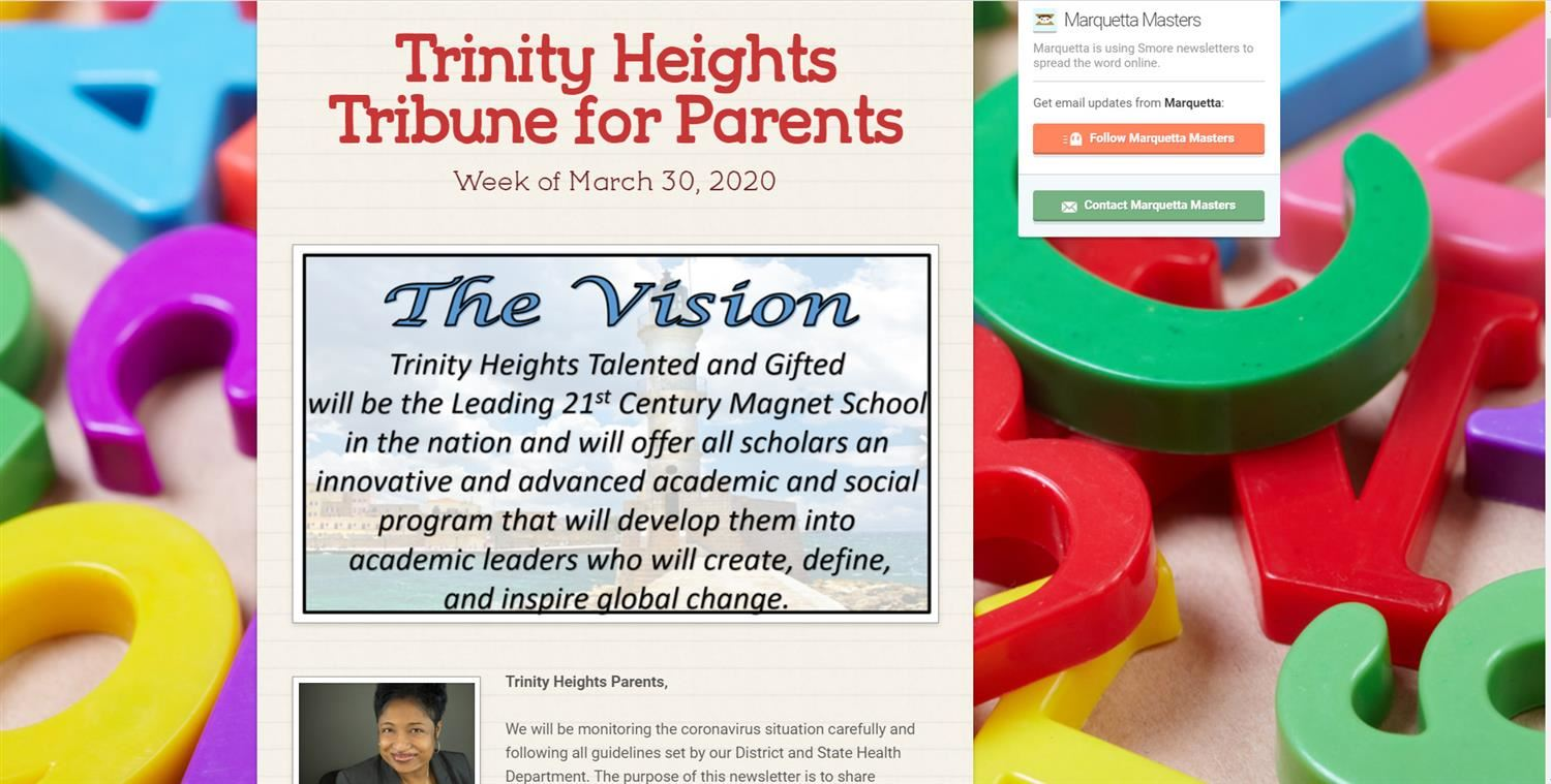 Trinity Heights Weekly parent newsletter Week of May 26-27/Boletín semanal para padres 26 de mayo al 27 mayo