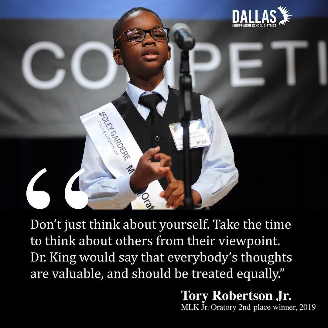 5th Grader Tory Robertson Jr. Wins Second Place in the 27th Annual Foley Gardere MLK Jr. Oratory Competition