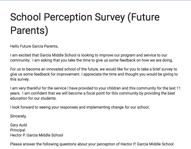 Parent survey for future Garcia Parents