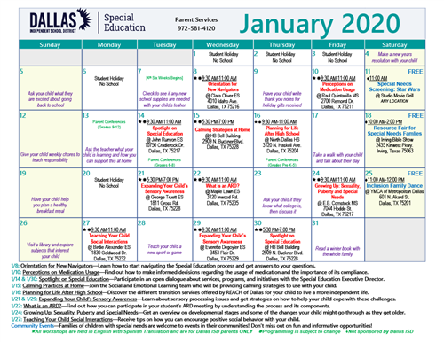 Exciting events happening in the month January here in Special Education!