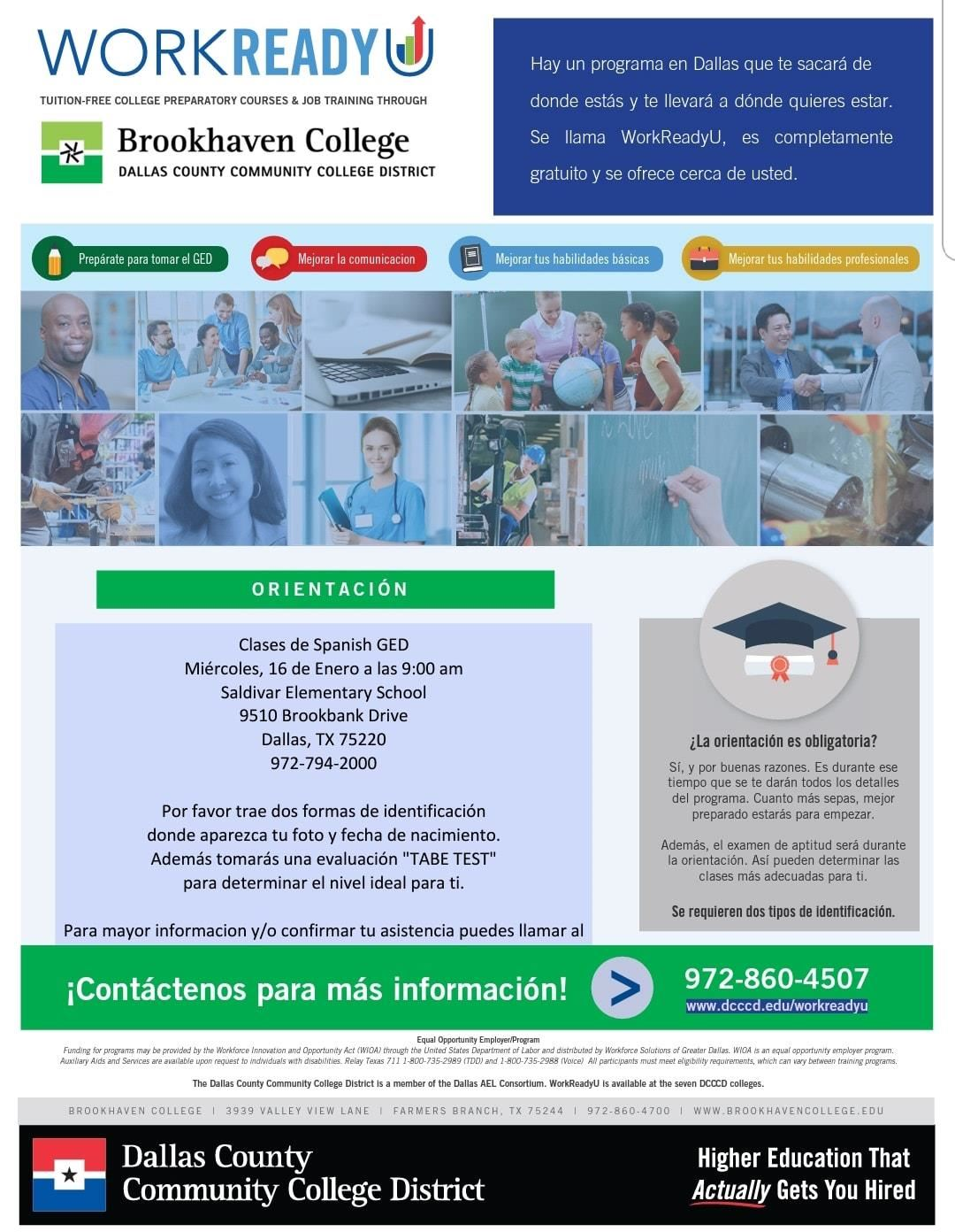 Brookhaven College GED Classes in Spanish for Adults