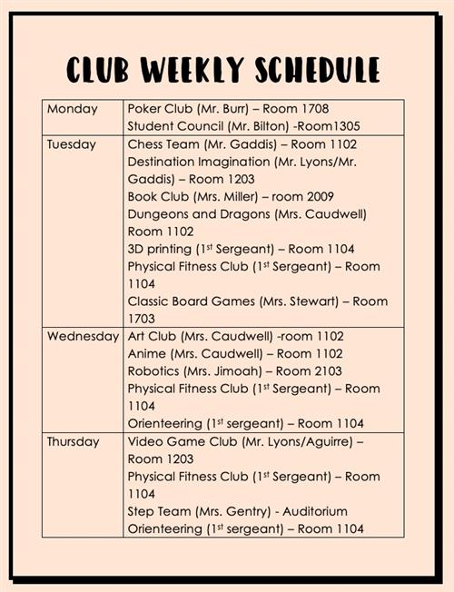 Club Weekly Schedule