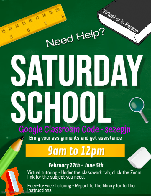 Click here for more information about Saturday School
