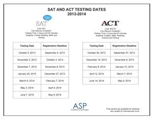 SAT & ACT registration dates are out.