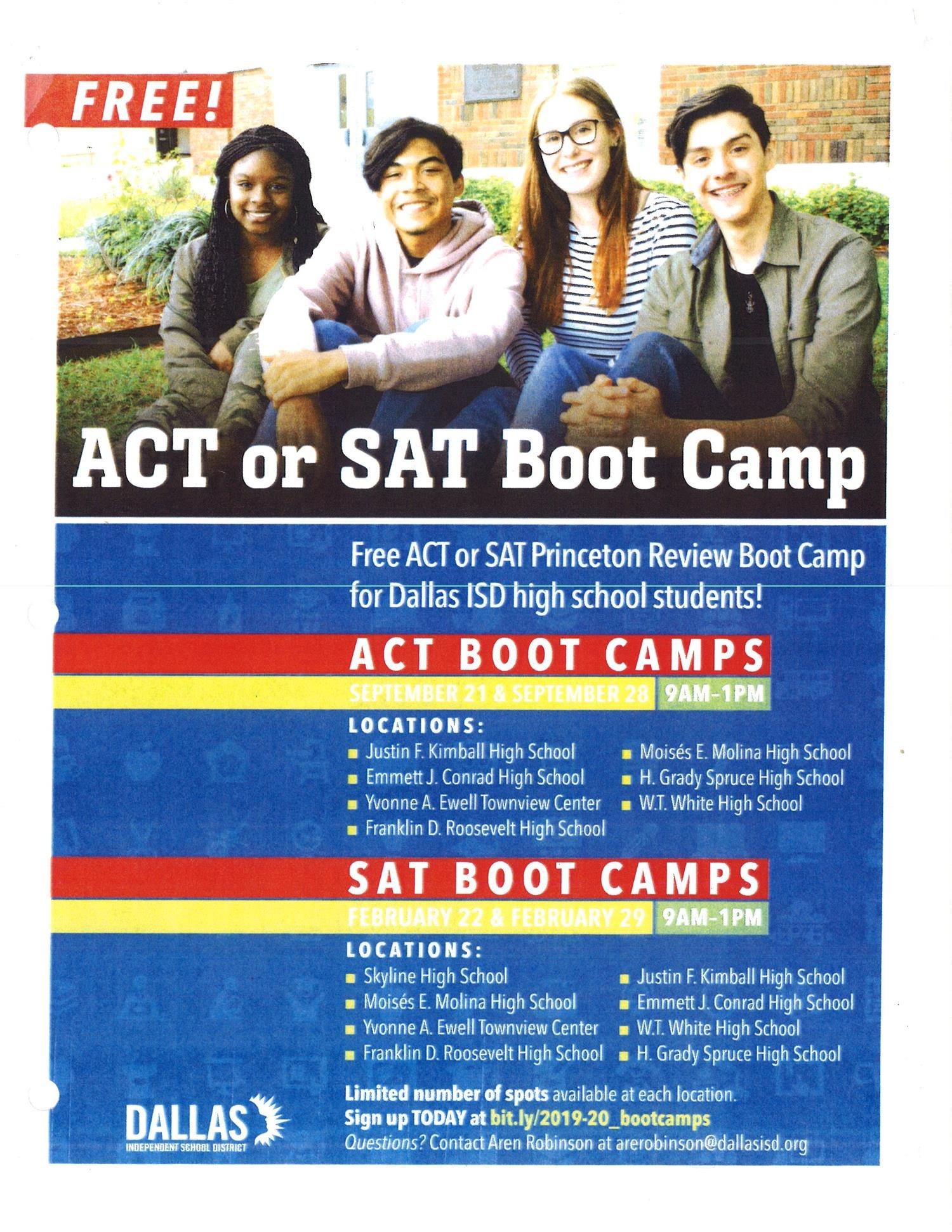 ACT & SAT Boot Camps Available -Sign Up Now!
