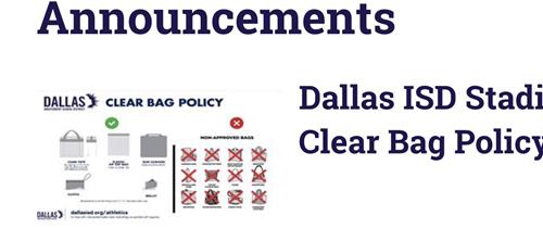 Dallas ISD Athletics - Clear Bag Policy