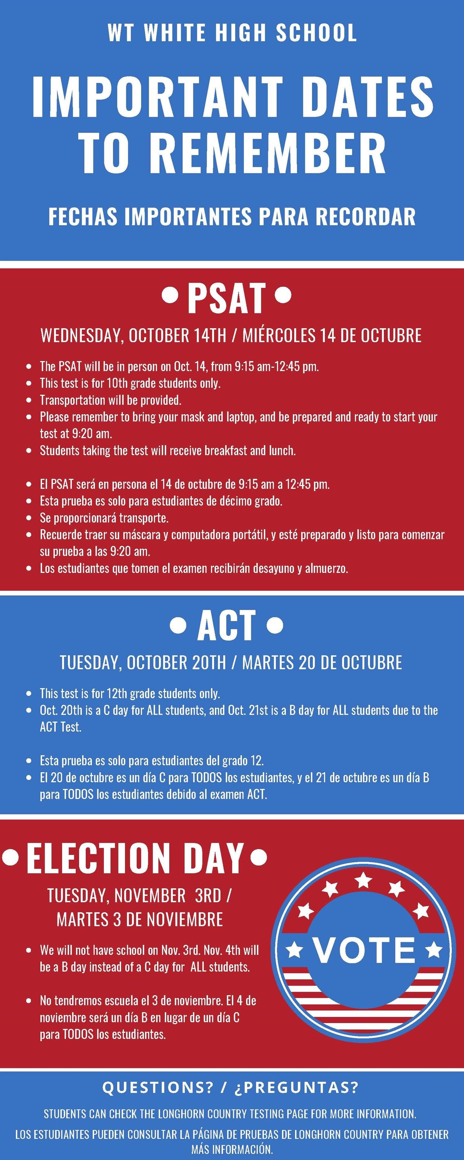 PSAT-ACT-Election Day
