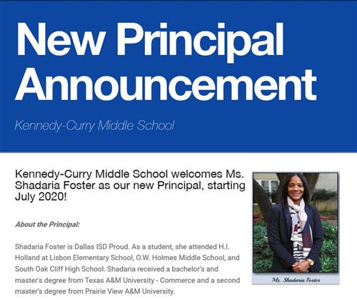 New Principal Announcement